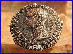 Authentic Ancient Roman coin Emperor Caligula Men's Ring