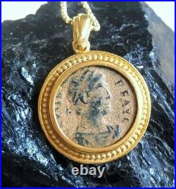 Authentic Roman bronze coin, ancient emperor coin gold plated necklace