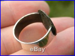 Authentic bronze coin Sterling Silver band 9.5 size Ancient Roman signet ring
