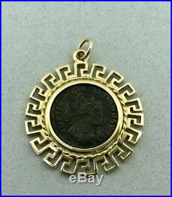 Awesome Vintage Solid 14k Yellow Gold and Ancient Roman Coin Pendant