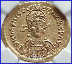 BASILISCUS & MARCUS Authentic Ancient 475AD GOLD Roman Coin RARE NGC i81520