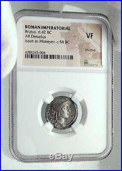 BRUTUS Julius Caesar Assassin 54BC Ancient Silver Roman Republic Coin i79206