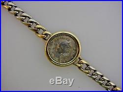 BVLGARI 18k Yellow & White Gold Ancient Roman Coin Link Bracelet Vintage Monete