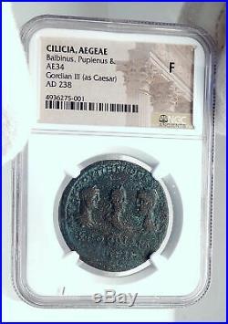Balbinus Pupienus & Gordian III as Caesar Ancient Aegeae Roman Coin NGC i81680