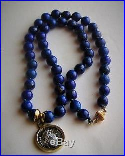 Barakat Ancient Roman Denarius Coin 18K Gold Pendant 8mm Lapis Lazuli Beads