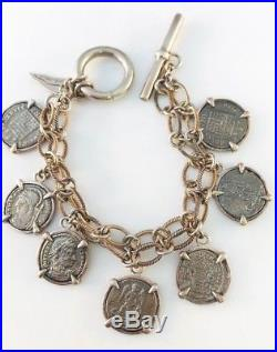 Barry Brinker Sterling Silver Ancient Roman Coin Bracelet w toggle clasp 62.0 gr