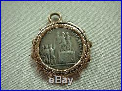 Beautiful 14k Yellow Gold Pendant With Ancient Roman Regna Ad Signata Coin
