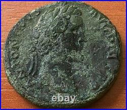 Bronze Coin of Antoninus Pius 138-161 AD AE Sestertius Ancient Roman Coin
