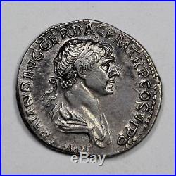 C. 112 A. D. Emperor Trajan Ancient Roman AR Silver Denarius Coin, Mars Design