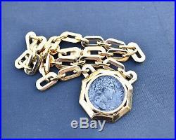 C1960s Ciner Gold Tone Collar Necklace Faux Ancient Roman Coin Aureus Pendant