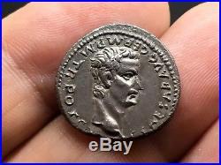 CALIGULA & AUGUSTUS 37AD Lugdunum Silver Denarius Ancient Roman Coin NGC Ch AU