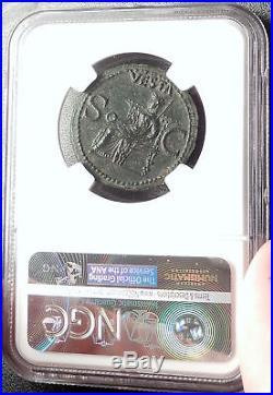CALIGULA Ancient Original 37AD Rome Authentic Roman Coin VESTA NGC AU i66668
