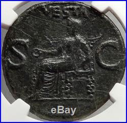 CALIGULA Ancient Original 37AD Rome Authentic Roman Coin VESTA NGC Ch VF i66906