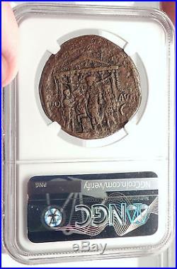 CALIGULA Dedicating Temple to Augustus Sestertius Ancient Roman Coin NGC i69326
