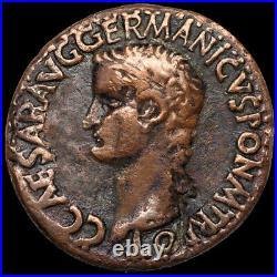 CALIGULA (Gaius) Roman Emperor / VESTA 37-41 AD. / Æ As ROME Coin +COA GGcoins