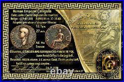 CALIGULA / Roman Emperor / VESTA Seated 37-41 AD. / AE As Coin +COA Very Nice