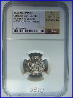 CARACALLA Roman Empire AD198-217 Silver NGC AU Denarius Ancient Rome Virtus Coin