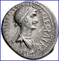 CLEOPATRA & ANTONY 34 BC Ancient Roman AR Coin NGC Certified Choice XF 5/5 5/5