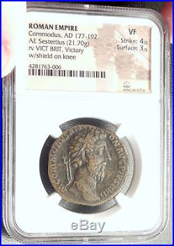COMMODUS 184AD Rome Sestertius VICTORY vs BRITAIN Ancient Roman Coin NGC i68554