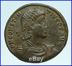 CONSTANTIUS II Authentic Ancient GLADIATOR Style BATTLE SCENE Roman Coin i83405