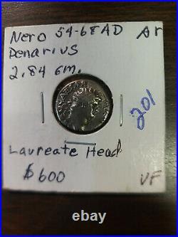 Coin Ancient Roman Imperial 54-68 AD VF Nero