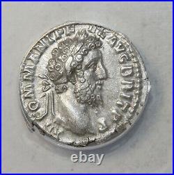 Commodus 177-192 AD AR Silver Denarius Rome ANACS XF45 Ancient Roman Coin