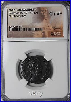 Commodus 187-188 AD Bi tetradrachm Alexandria Egypt NGC CH VF Ancient Roman Coin