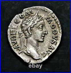 Commodus. Excellent Denarius. Son of Marcus Aurelius. Ancient Roman Silver Coin