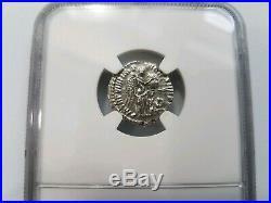 Commodus Roman Empire AD 177-192 NGC AU Silver AR Denarius Angel Ancient Coin