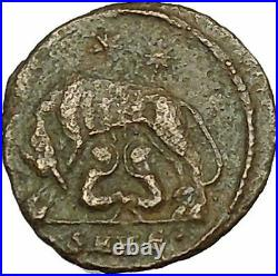 Constantine I The Great Ancient Roman Coin Romulus & Remus Mother wolf i40081