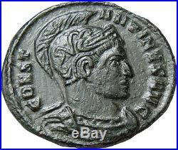 Constantine I the Great AE Follis Helmet Vot XX Authentic Ancient Roman Coin