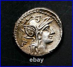 D. Iunius Silanus L. F. Denarius circa 91 BC. Ancient Roman Republic Silver Coin
