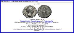 Diva FAUSTINA I Sr 141AD Authentic Ancient Silver Roman Coin VESTA i67030