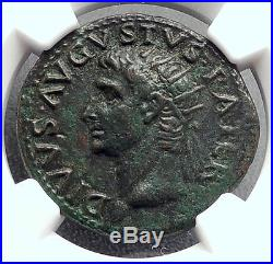 Divus AUGUSTUS 22AD Rome ALTAR Tiberius Authentic Ancient Roman Coin NGC i60242