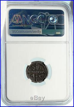 Divus JULIUS CAESAR Portrait 44BC Rome Ancient Silver Roman Coin NGC i84271