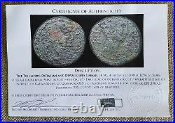 Divus Julius Caesar & Augustus Authentic Ancient Roman Sestertius Coin with COA