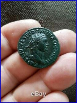 Domitian 69-81AD, AE As, struck under Titus, Ancient coin Roman Empire RARE