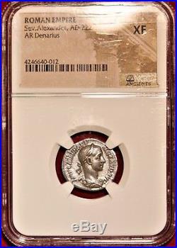 E-Coins Australia Severus Alexander AR Denarius NGC XF Ancient Roman coin MARS