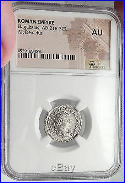 ELAGABALUS 219AD Rome Authentic Ancient Silver Roman Coin VICTORY NGC AU i61956