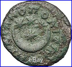ELAGABALUS MARCIANOPOLIS Rare Ancient Roman Coin Crescent moon 4 stars i48544