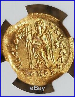 Eastern Roman Empire LEO Gold Solidus NGC MS 5/4 Ancient Coin