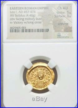 Eastern Roman Empire Leo I NGC Choice AU 5/3 Ancient Gold Coin