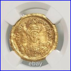 Eastern Roman Empire Theodosisus II Gold Solidus NGC XF Ancient Coin