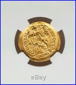 Eastern Roman Empire Theodosius II NGC Choice 5/3 Ancient Gold Coin