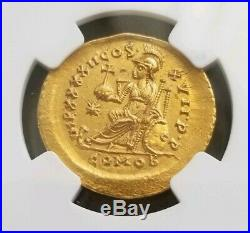 Eastern Roman Empire Theodosius II NGC MS 5/3 Ancient Gold Coin