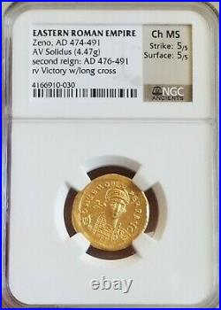Eastern Roman Empire ZENO Solidus CH MS 5/5 NGC Ancient Gold Coin