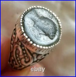 Emperor Caligula Authentic Ancient Roman Empire Coin 925 Solid Silver Ring Sz 10