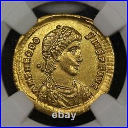 Emperor Theodosius I Gold AV Solidus 379-395 AD, Ancient Roman Gold Coin, NGC AU