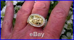Estate 18K Gold Horse Rider Ring Ancient Greek Roman Coin Style Diamonds Sz 11