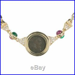 Estate Ancient Roman Coin 18K Yellow Gold Necklace with Emerald Ruby Diamonds